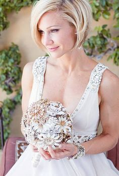 Short Straight Wedding Hairstyle