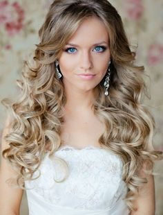 Simple Long Curly Bridal Hairstyle