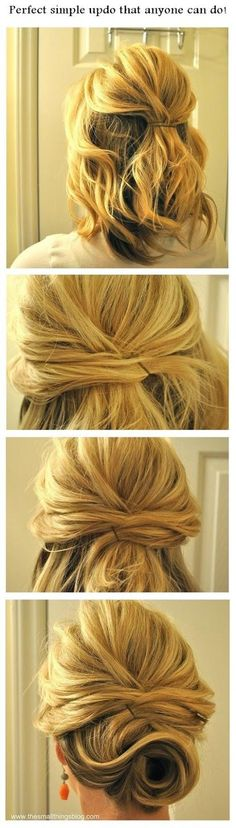 16 pretty and chic updos for medium length hair pretty designs simple updo tutorial for medium length hair pmusecretfo Gallery