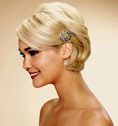 Sleek Short Wedding Hairstyle With Side Bangs