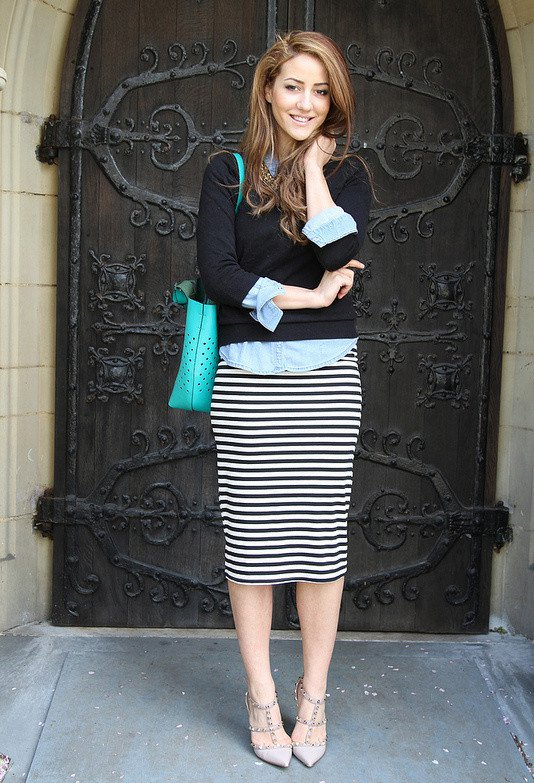 Stripe Midi Skirt Outfit for Fall