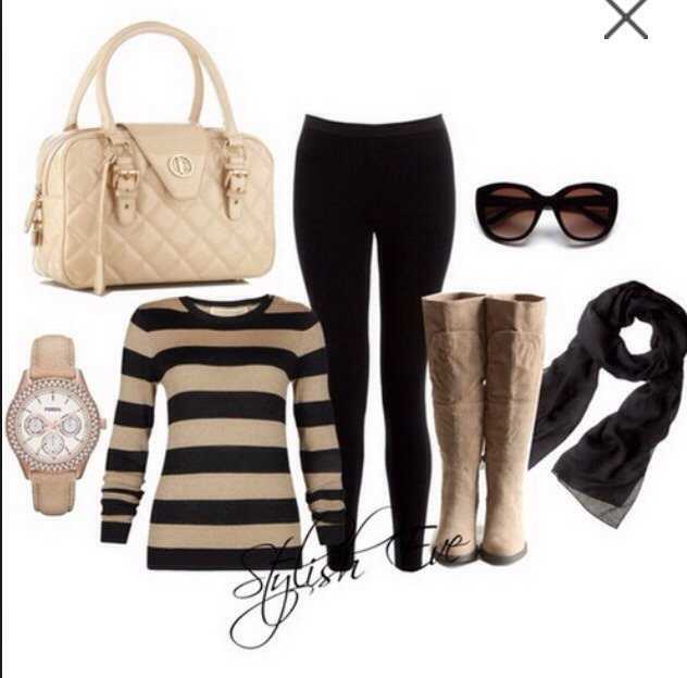 Stripe Outfit Idea for Fall