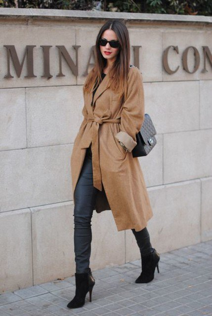Stylish Brown Trench Coat with High Heel Booties