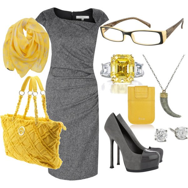 Stylish Grey and Yellow Outfit for Women