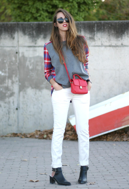 Tartan Sweatshirt Outfit for Fall