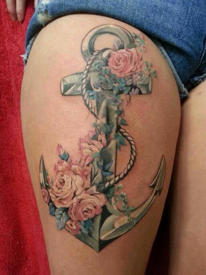 Thigh Anchor Tattoo