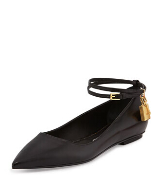 Tom Ford Padlock Ankle-Wrap Ballerina Flat