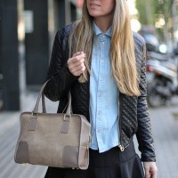 Trendy Fall Outfit Idea with Leather Jacket and Denim Shirt