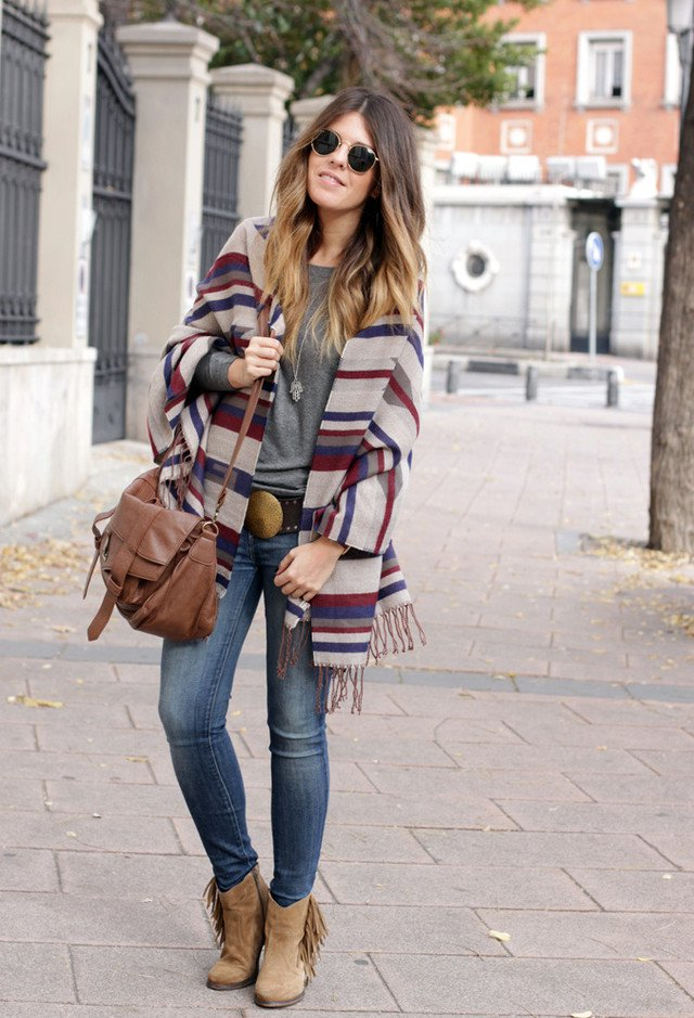 Trendy Stripe Poncho Outfit Idea