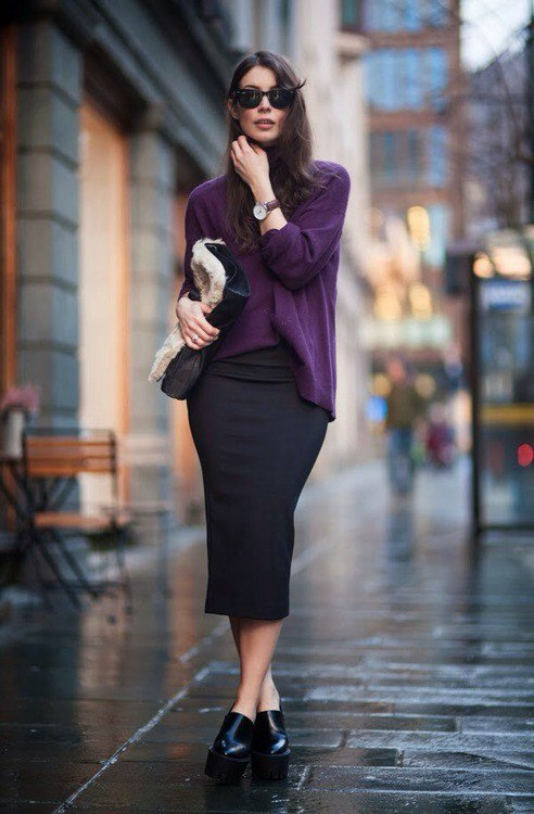 Violet Sweater and Black Midi Skirt for Early Fall