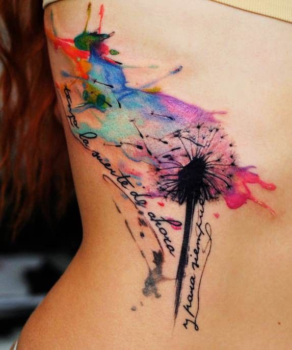 Watercolor Dandelion Tattoo