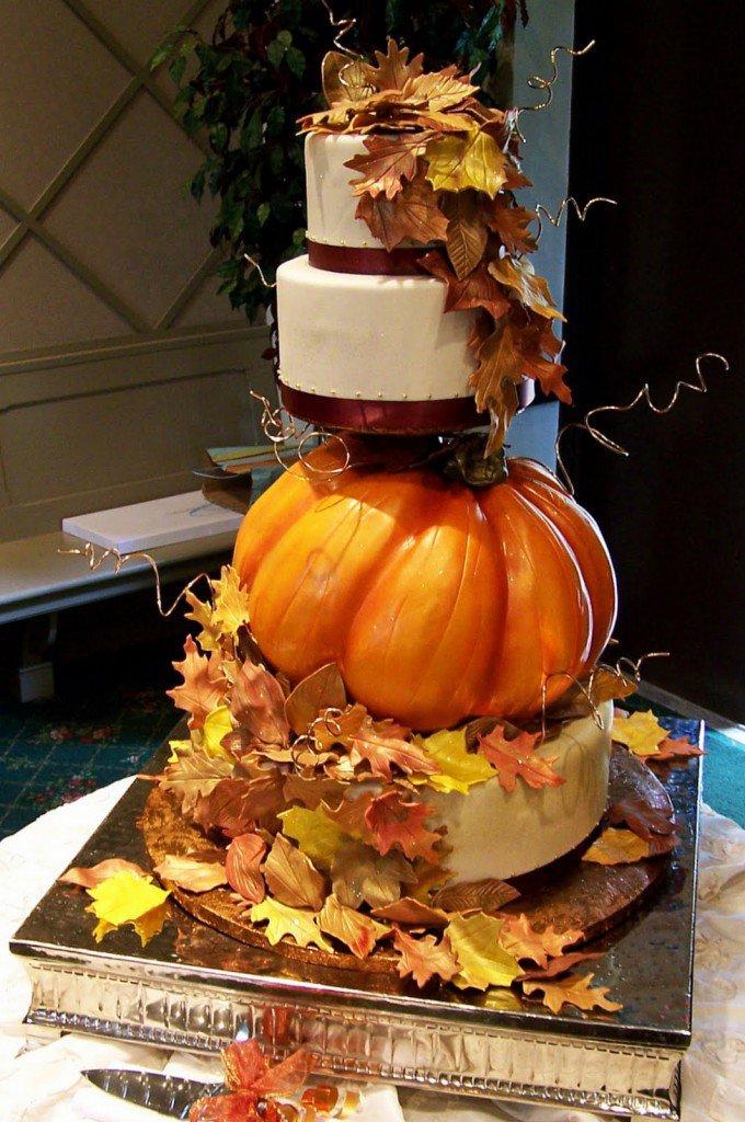 Wedding Cake with A Pumpkin