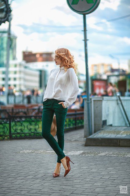 White Blouse with Green Jeans Outfit for Early Fall