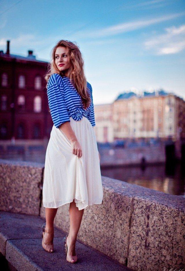 White Midi Skirt and Blue Stripe Shirt