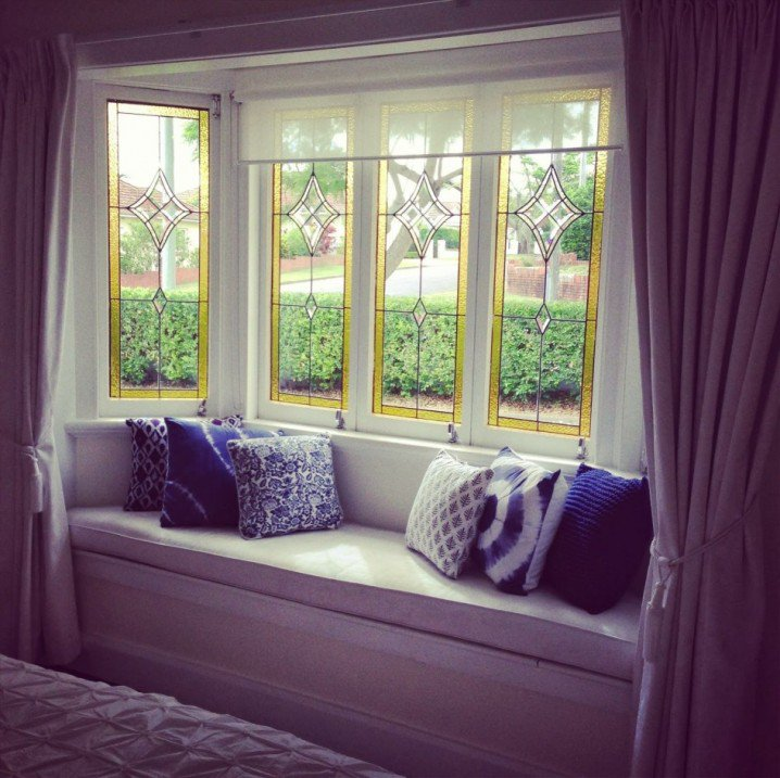 Home decoration ideas for window seats pretty designs for Window seat curtains