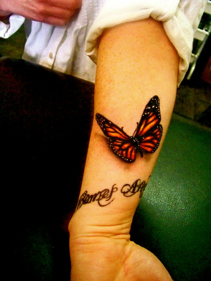 3D Butterfly Tattoo on Arm