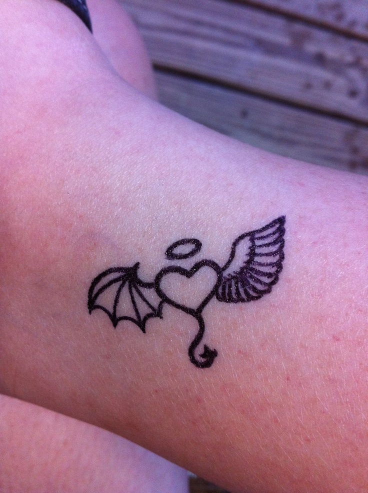 Angel Devil Heart Tattoo