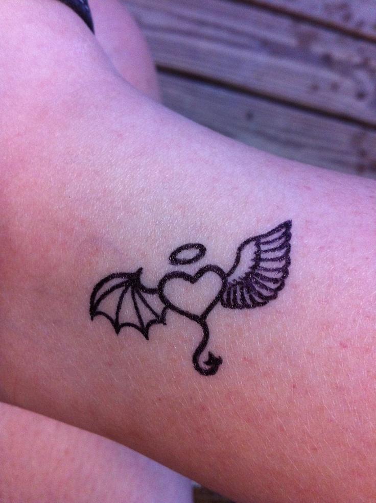 Angel Devil Heart Tattoo