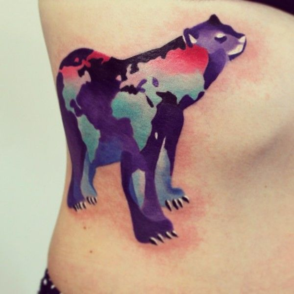 Animal and Map Tattoo