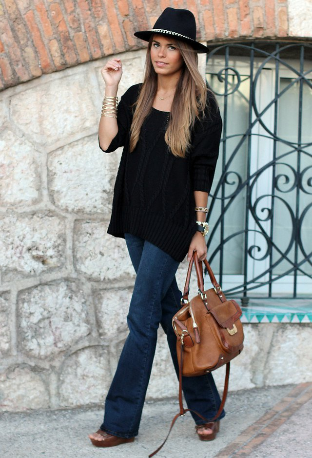 Black Jumper with Jeans and A Hat