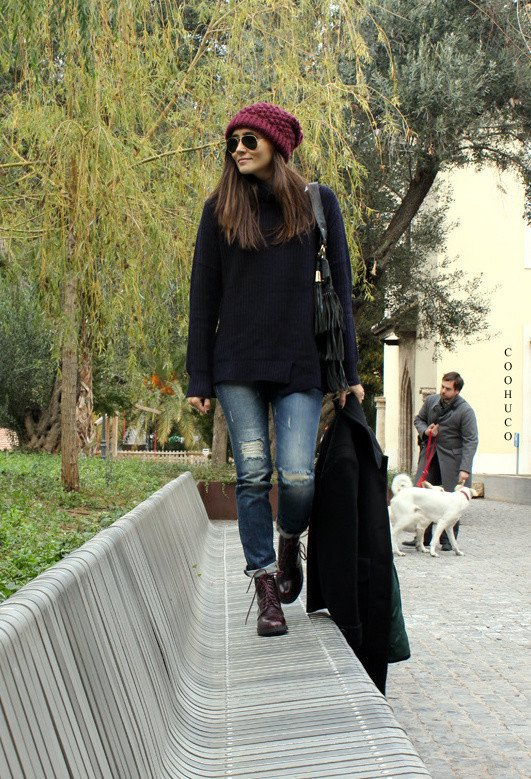 Black Jumper with Ripped Jeans for Fall