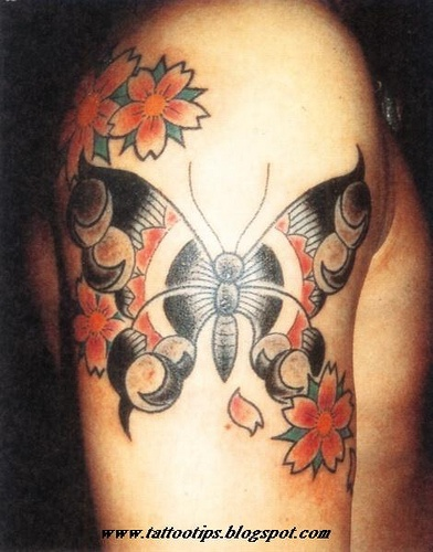 Black and Red Butterfly Tattoo