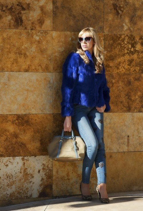 Blue Fur Coat Outfit Idea with Jeans