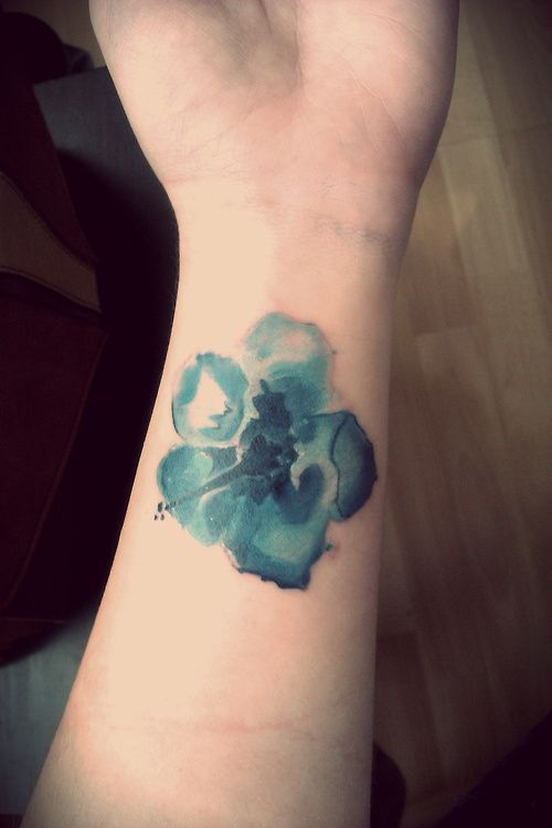 Blue Watercolor Tattoo