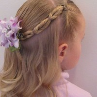 Braided Hairstyle With Flower for Kids