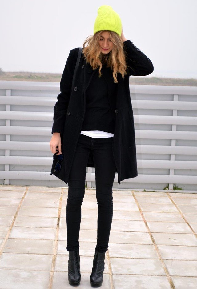 Bright Yellow Knitted Hat with All Black Outfit