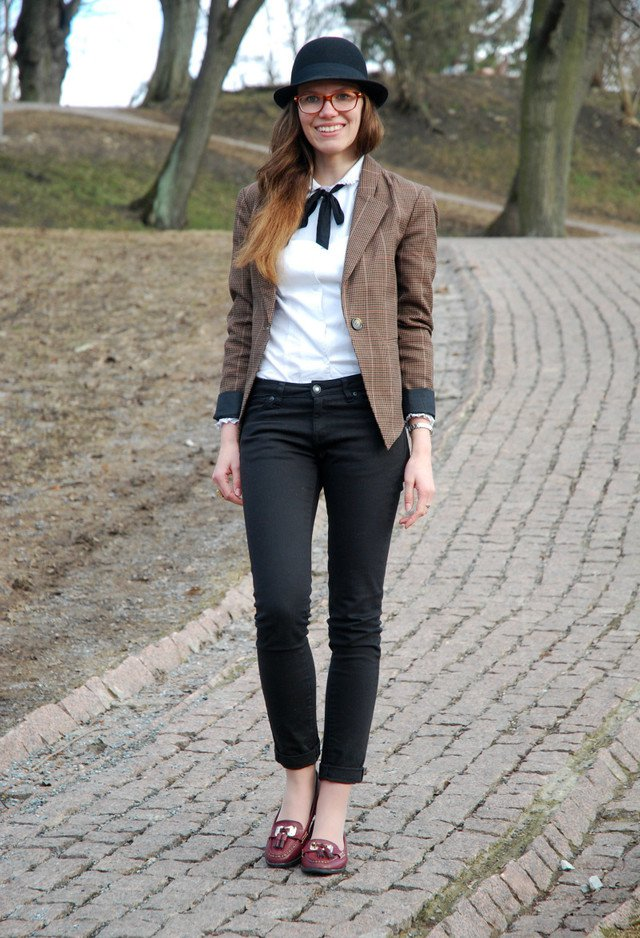 Brown Tartan Blazer for Fall