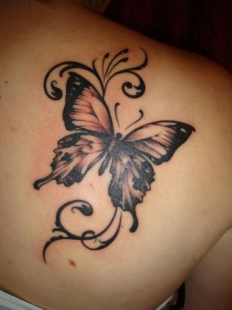15 gorgeous shoulder butterfly tattoo desgns pretty designs. Black Bedroom Furniture Sets. Home Design Ideas