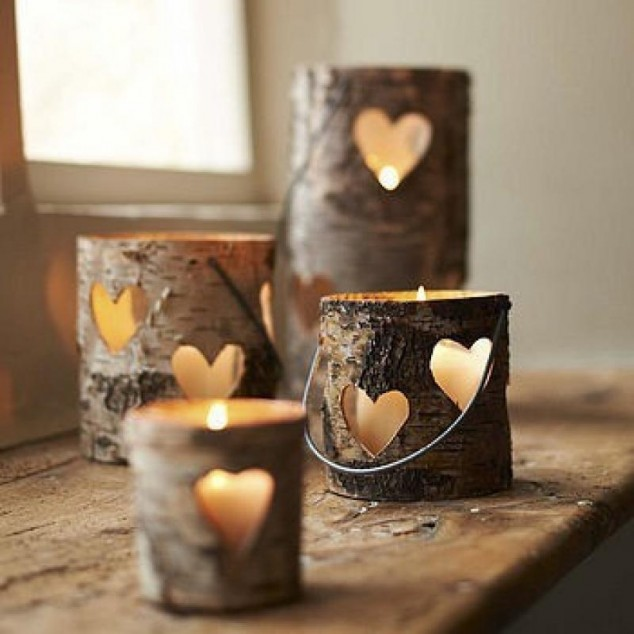 Candle Holders with Heart Shape Carved