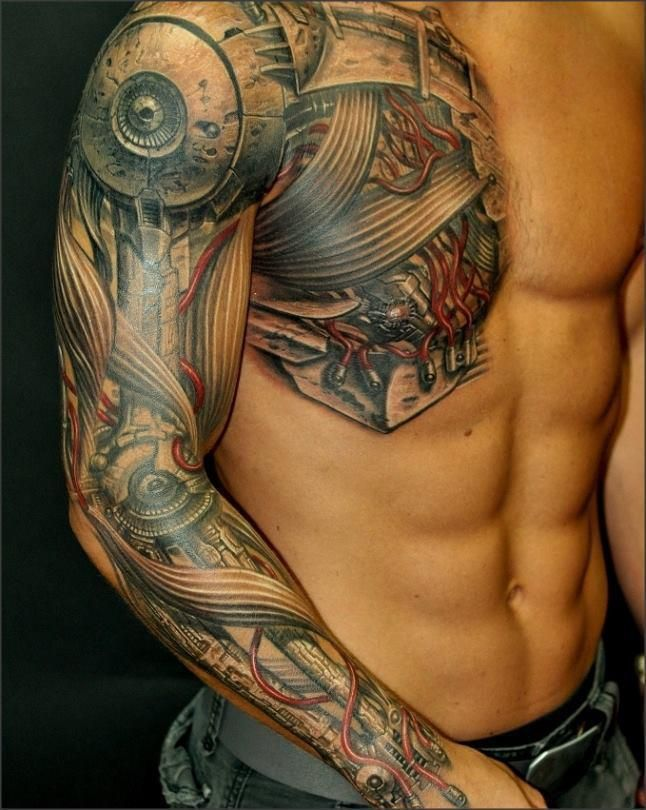 Chest and Sleeve Tattoo