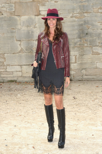 Christina Pitanguy Fall Outfit with Knee High Boots and Leather Jacket