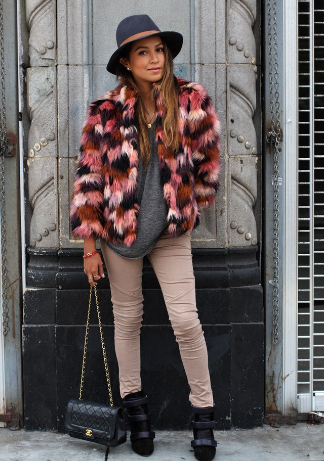 Colored Fur Coat Outfit Idea