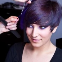 Colored Short Layered Haircut With Bangs