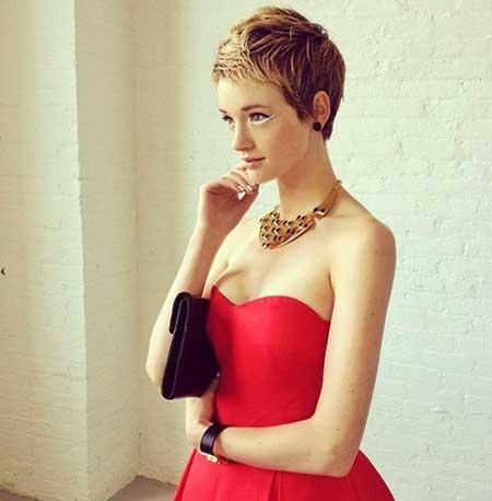 Copper Blonde Pixie Haircut