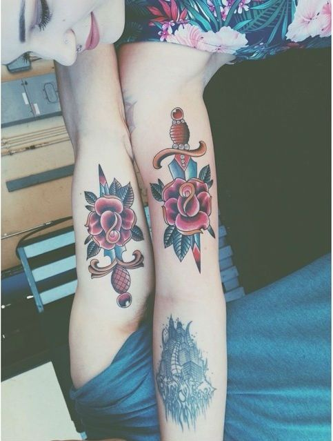Couple Floral Tattoo