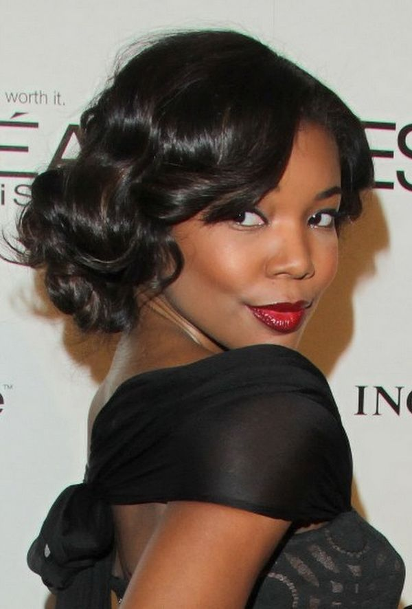 Updo Hairstyles With Bangs For Black Women 96
