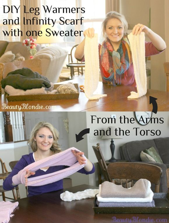 DIY Leg Warmers and Scarf from a Sweater