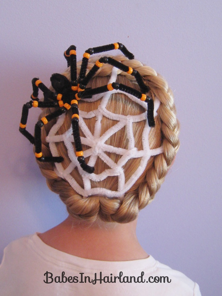 DIY Spiderwed Halloween Hairstyle