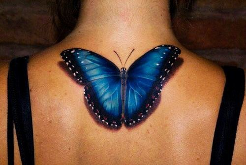 Dark Blue Butterfly Tattoo