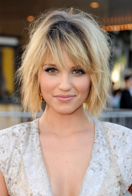 Dianna Agron Layered Short Ombre Bob Hairstyle With Bangs