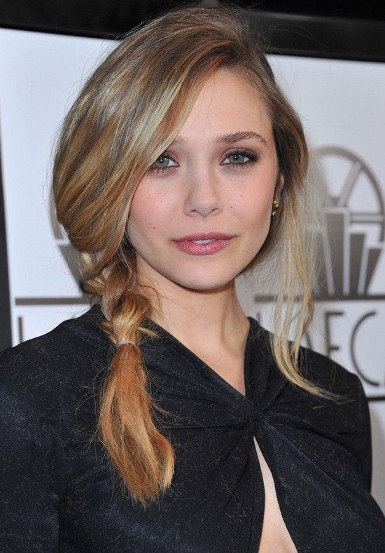 Elizabeth Olsen Chic Messy Side Braid with Bangs for Winter