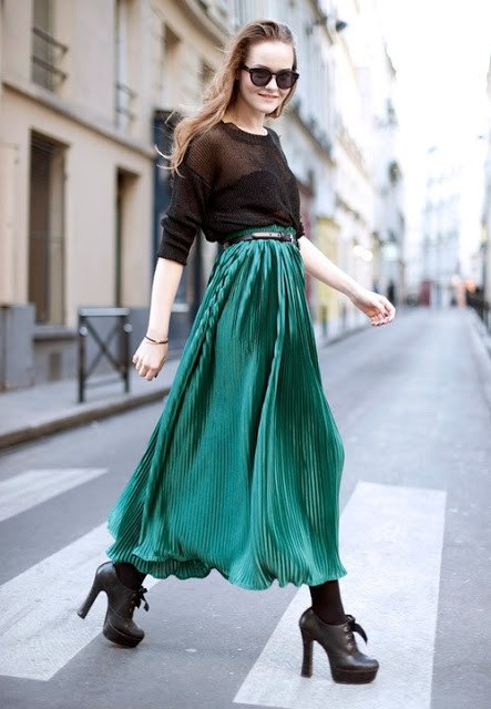 Emerald Pleated Skirt