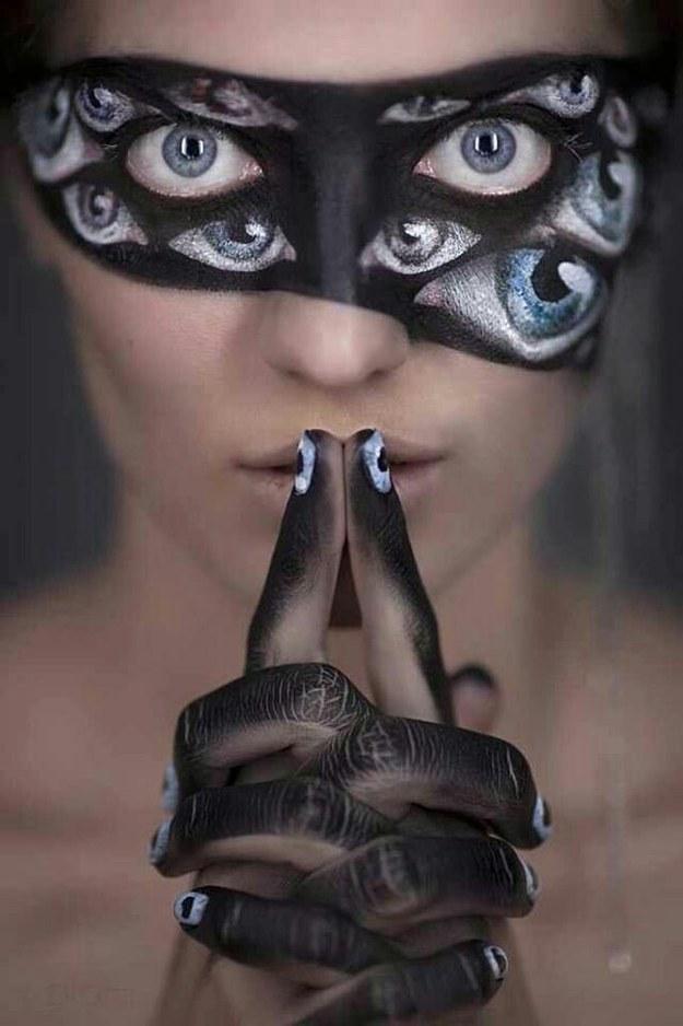 Eye Mask Makeup Look for Halloween