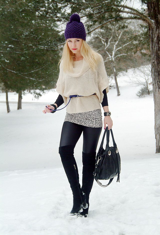 Fabulous winter Outfit With A Knitted Hat