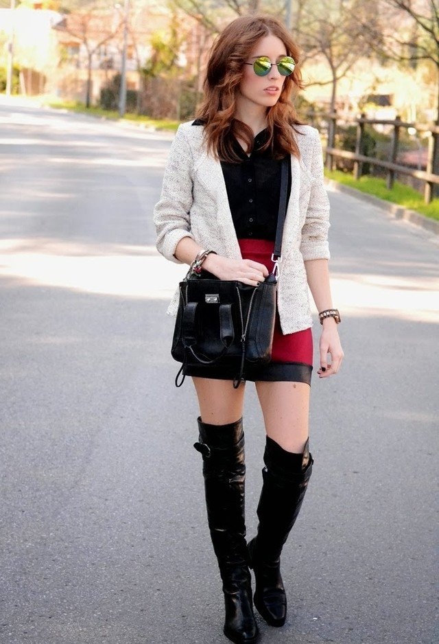 Fashionable Fall Outfit with High Boots
