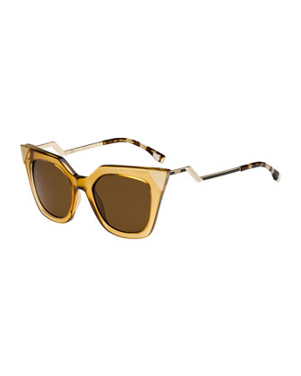 Fendi Iridia Flash Sunglasses with Mirror Lens